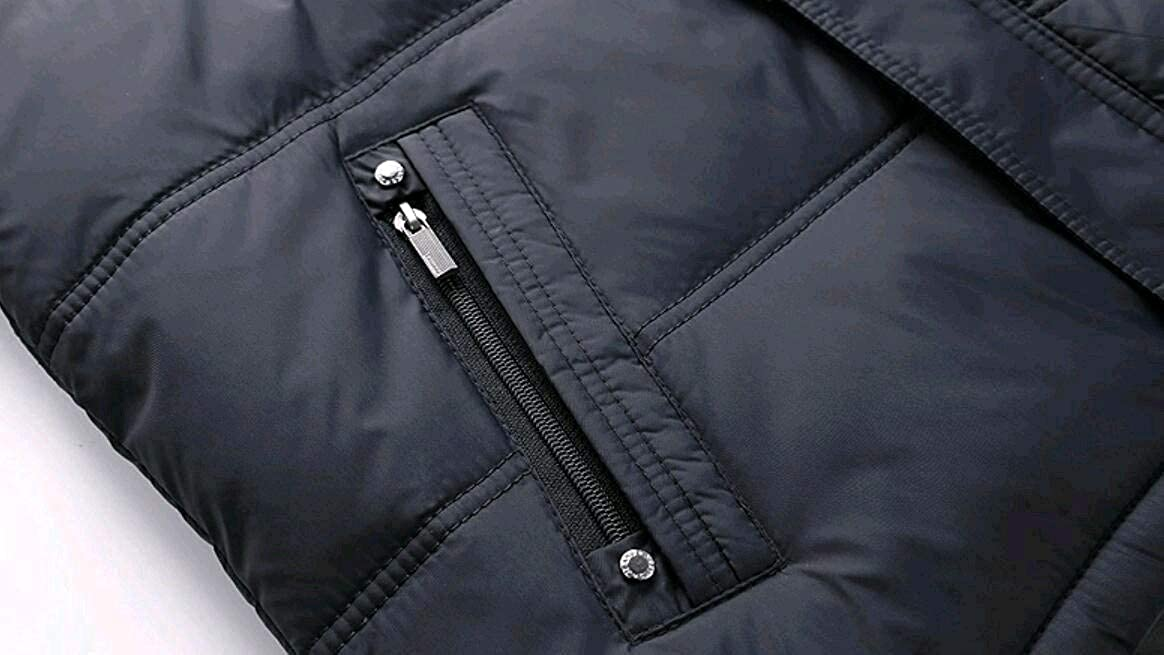 Abetteric Men Windproof Mid-Long Plus Size Pure Color Hood Down Parka