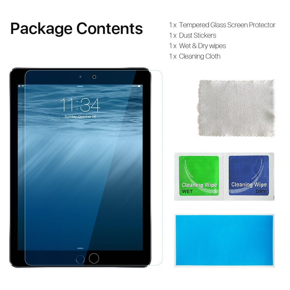 EyeO2 for iPad Mini 4 Screen Protector, 9H Tempered Glass for Apple iPad Mini 4 7.9 Inch 3D Round Edge Tablet Computer Screen Guard Film Bubble-Free, Fingerprint-Free &Anti-Scratch Protector