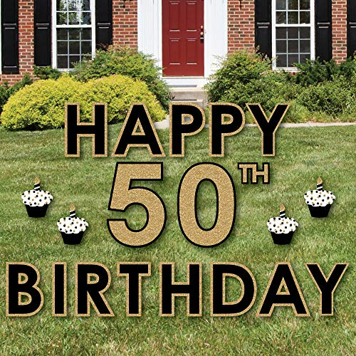 Big Dot of Happiness Adult 50th Birthday - Gold - Yard Sign Outdoor Lawn Decorations - Happy Birthday Yard Signs