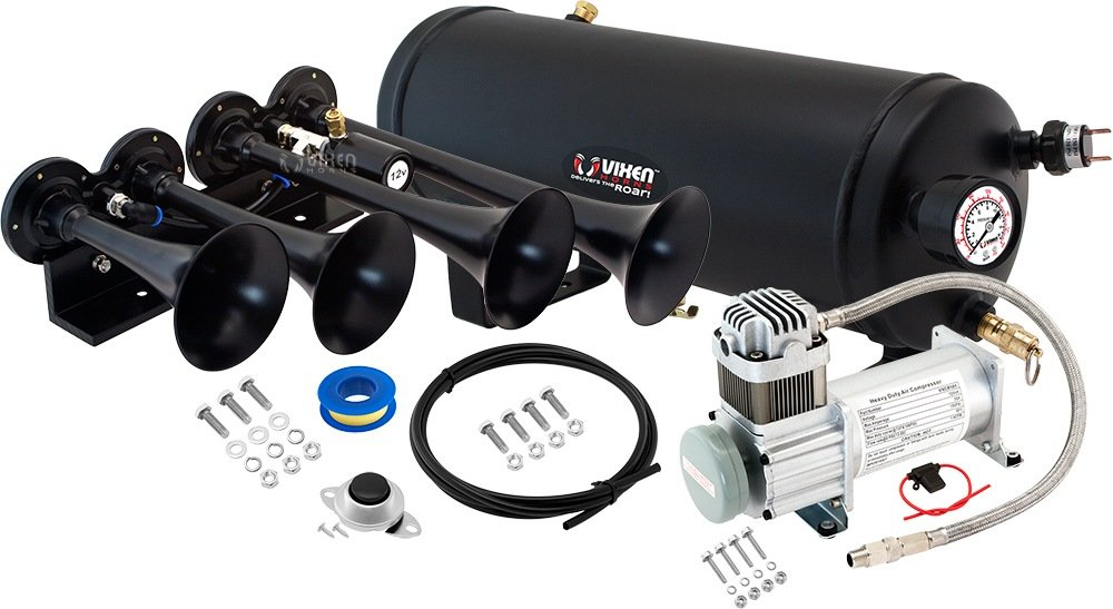 Vixen Horns Loud 149dB 4/Quad Black Trumpet Train Air Horn with 1.5 Gallon Tank and 150 PSI Compressor Full/Complete Onboard System/Kit VXO8115/4124B