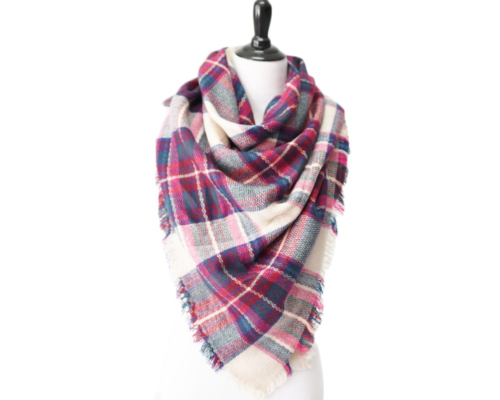 Peek A Boot A36 Pink/White Oversized Blanket Scarf