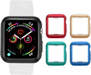 Tranesca 4 Pack Apple Watch case with Built-in TPU Screen Protector for 38mm Apple Watch Series 2 and Apple Watch Series 3-4 Pack (Red+Gold+Green+Blue) -Also with 4 complimentary Items Included !