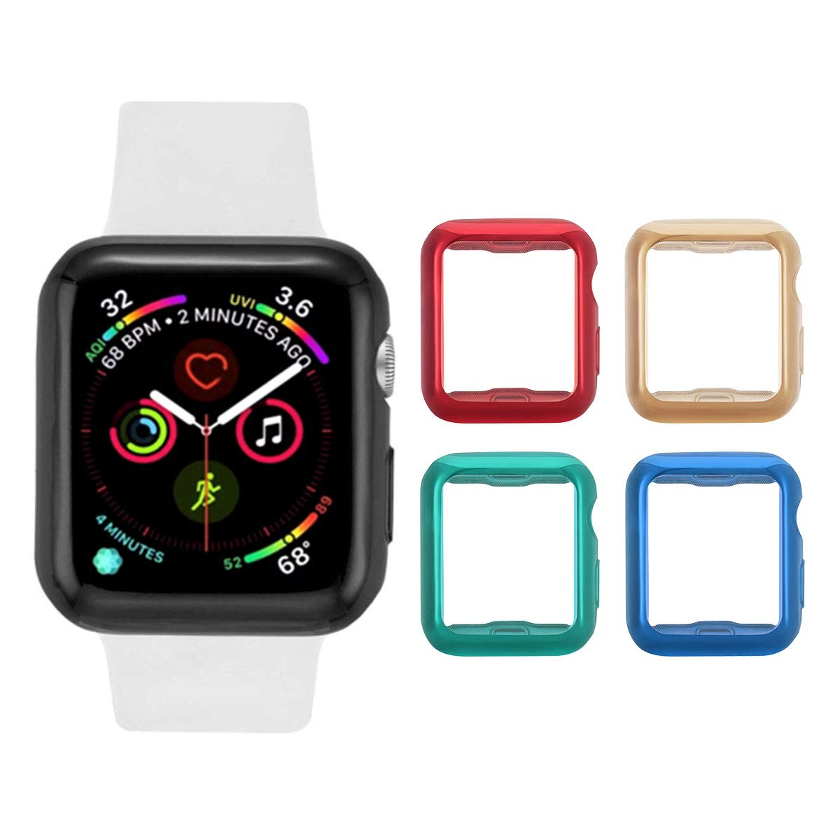 Tranesca Apple Watch case with Screen Protector for 38mm Apple Watch Series 2 and Apple Watch Series 3-4 Pack (Red+Gold+Green+Blue) by Tranesca