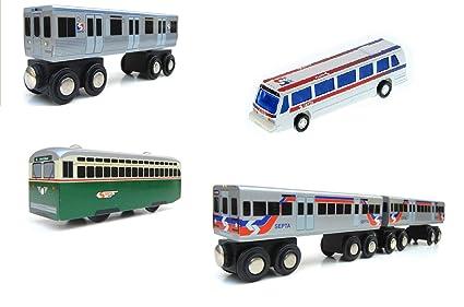 Amazoncom Munipals Septa Philadelphia Wooden Train Trolley And Bus