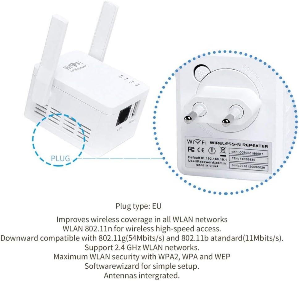 Swiftswan WiFi Range Extender mit externen Antennen und kompaktem Design USB Port US EU UK Kompakte Mini Gr/ö/ße Leicht