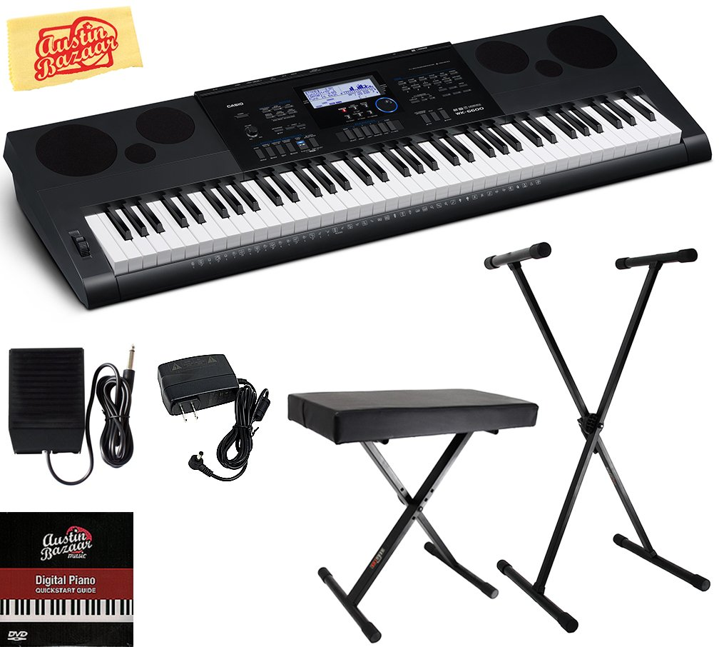 Casio WK-6600 Workstation Keyboard Bundle with Adjustable Stand, Bench, Sustain Pedal, Power Supply, Austin Bazaar Instructional DVD, and Polishing Cloth by Casio