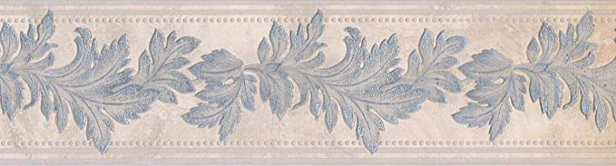 95596 Floral Beige Leaves 15 x 4 Pre-Pasted Wallpaper Border