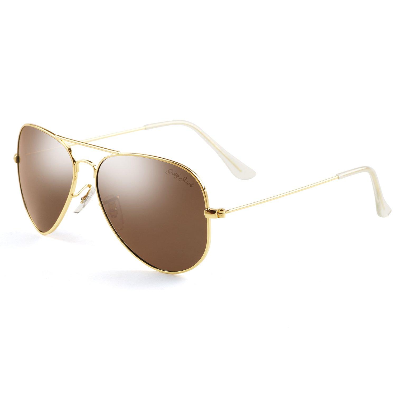 GREY JACK Polarized Classic Aviator Sunglasses Military Style for Men Women Gold Frame Brown Lens Medium