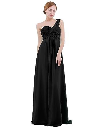 e55aafe2008 dPois Women s One-Shoulder Empire Waist Floor Length Bridesmaid Long  Chiffon Dress Black 2(