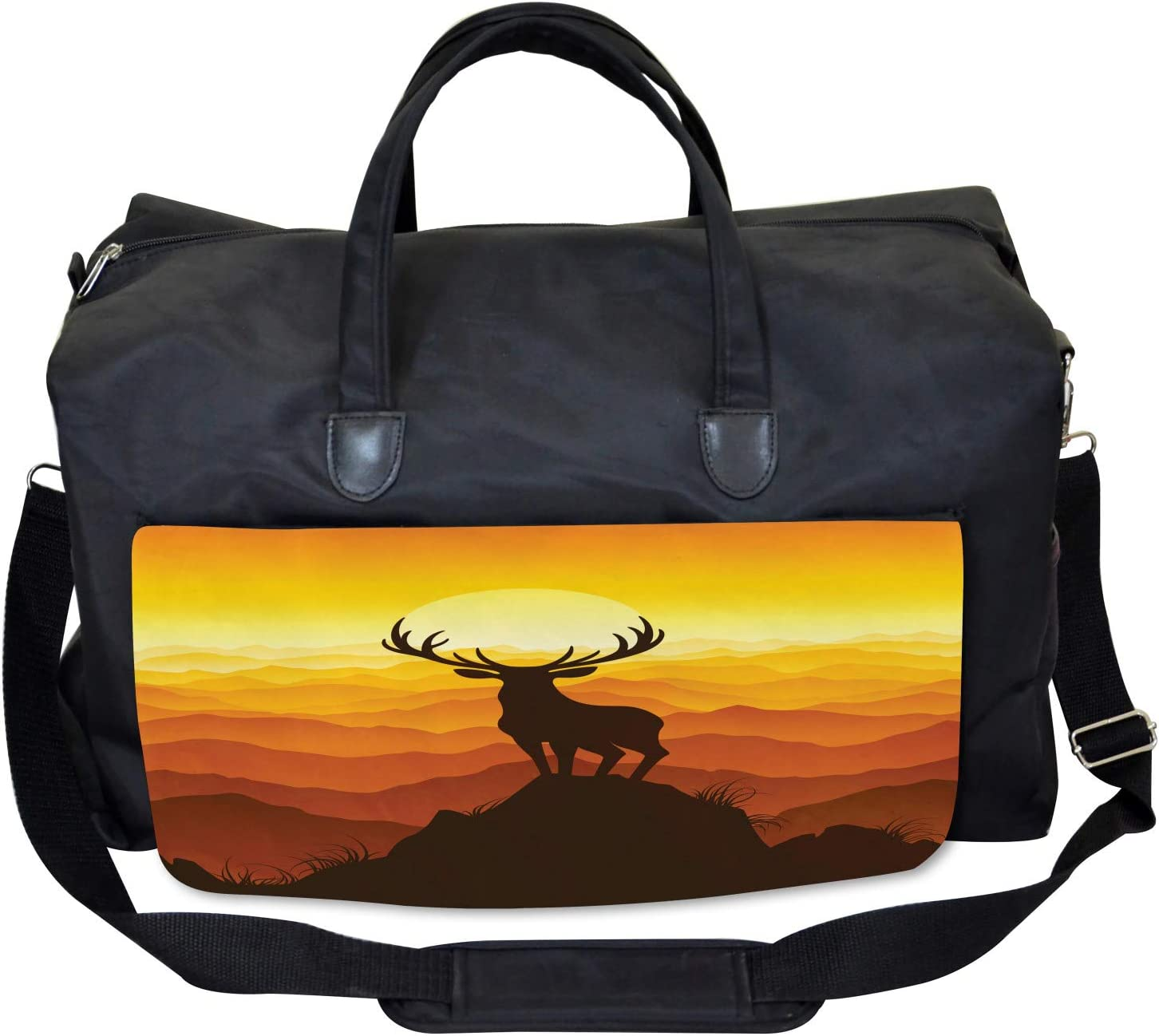 Ambesonne Antlers Gym Bag Large Weekender Carry-on Wildlife Sunset Hill