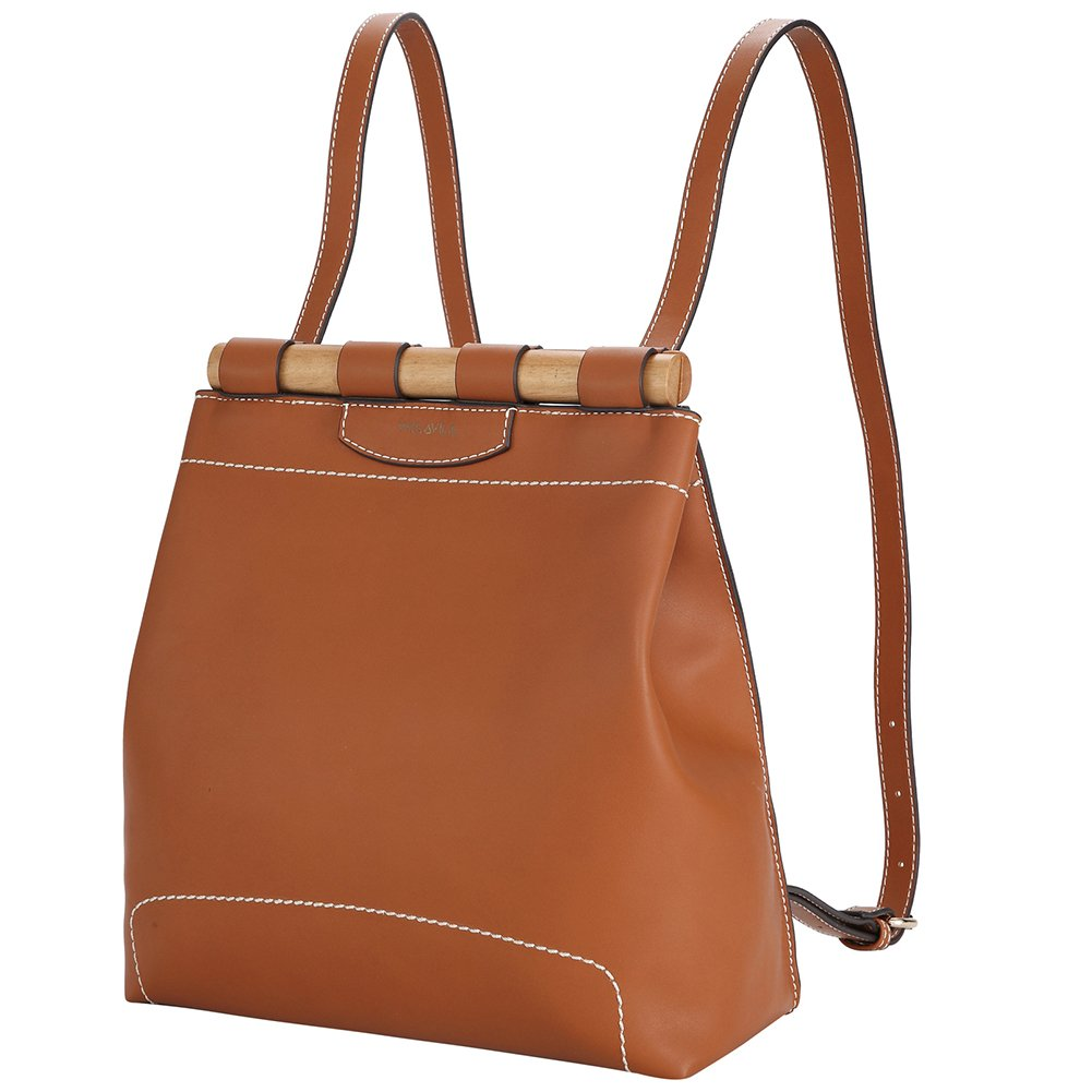 Fashion Backpack Purse Brown Leather Shoulder Bag with Bamboo Design Daily Casual Travel Daypack Rucksack for Women Ladies