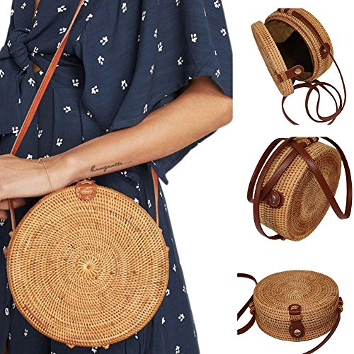 Beach Bag Bohemian Rattan Handmade Round Crossbody Bag Small Shoulder Bag Retro Woven Circular Straw Braided Handbag Fashionable Household Storage Bag ()