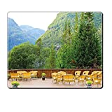 Mouse Pad Unique Custom Printed Mousepad Travel Decor Tables And Chairs Of Outdoor Restaurant In Norway Mountains Nature Green Mustard Brown Stitched Edge Non Slip Rubber