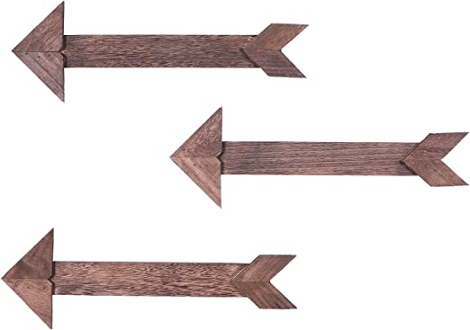Amazon Com Comfify Arrow Barnwood Decorative Wooden Sign Set Of 3 Arrows For Wall Decor In Torched Brown Wood Decorative Signs Rustic Home Decor Accents Double Sided Stickers Included Home Kitchen