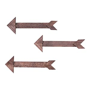 Comfify Arrow Barnwood Decorative Wooden Sign – Set of 3 Arrows for Wall Décor in Torched Brown – Wood Decorative Signs - Rustic Home Décor Accents – Double Sided Stickers Included
