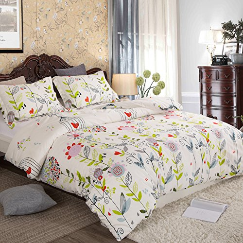 Duvet Cover Queen, Style Bedding Ultra Soft Comfy 100% Cotton Reversible Pintuck Comforter Cover and 2 Shams with Hidden Zipper Corner Ties (Queen Size 90 x 90 inch)