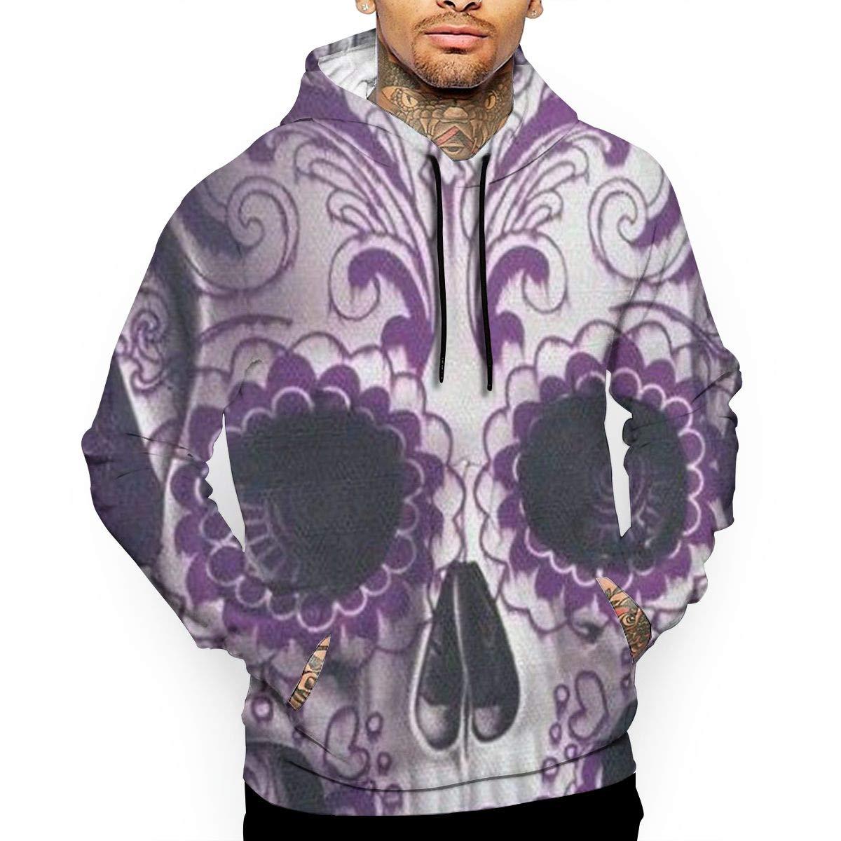 Purple Skull Pattern Mans Long Sleeve Hoodie Casual Pocket Hooded Sweatshirt
