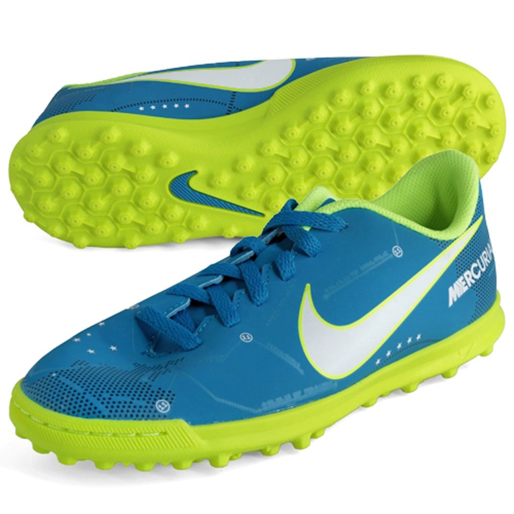 Nike JR MERCURIALX VRTX III NJR TF – Neymar Jr, Unisex Kinder Fußballschuhe, Blau (Blau Orbit Weiß-Blau orbit-armory Navy)