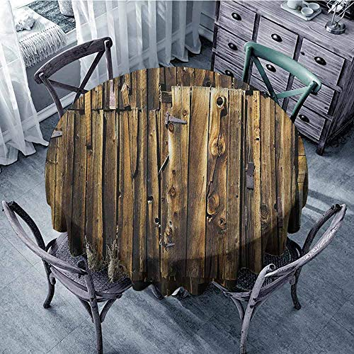 - ScottDecor Overlays Round Tablecloth Wrinkle Free Tablecloths Rustic,Oak Barn Siding Door Cracked Rusted Hinges Dated Timber Mansion Farmland Nobody Design,Brown Diameter 50