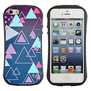 Fuerte Suave TPU GEL Caso Carcasa de Protección Funda para Apple Iphone 5 / 5S / Business Style triangle blue pink shapes retro game