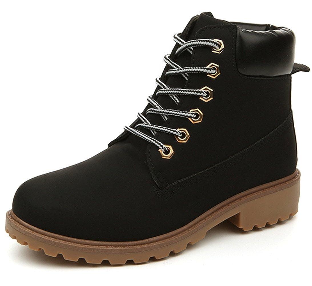 96920c36d9f5e DADAWEN Women's Lace Up Low Heel Work Combat Boots Waterproof Ankle Bootie