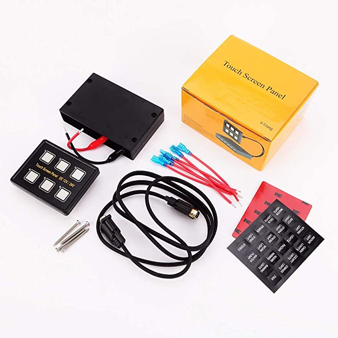 IP67 Wasserdicht 6 Fach LED Slim Touch Bedienfeld f/ür Auto Marine Boot Schwarz 12V Auto Schalterleiste