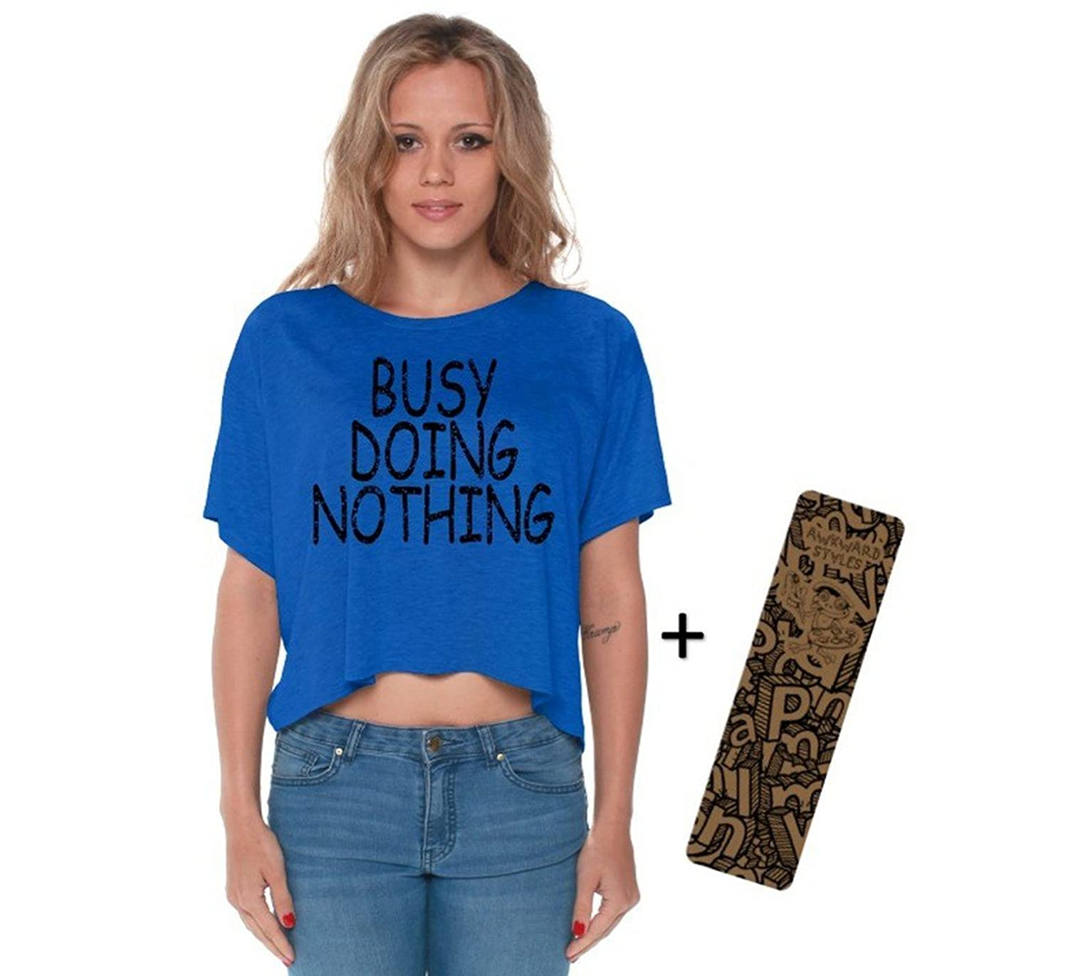 Awkwardstyles Busy Doing Nothing Boxy Crewneck Flowy Crop Top Black + Bookmark