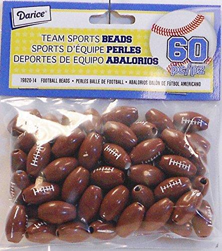 Darice 60-Piece Big Value Football Beads (19820-14) -