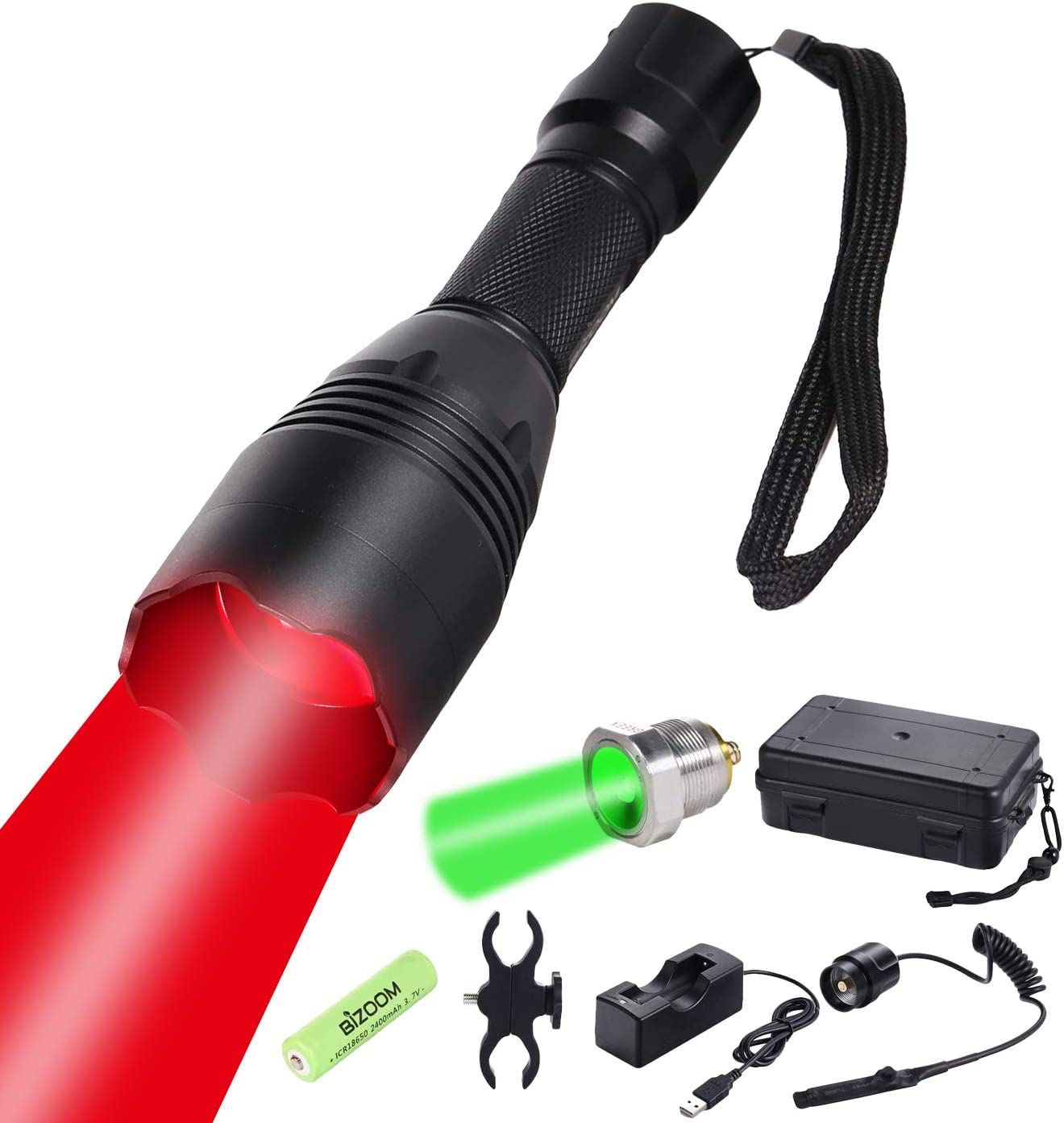 BIZOOM Hunting Flashlight Kit Zoomable Focus KL35 Long Range Red Green Cree LED Predator Varmint Night Light Torch with Remote Pressure Switch,Rifle Scope Mount,Rechargeable 18650 Battery and Charger