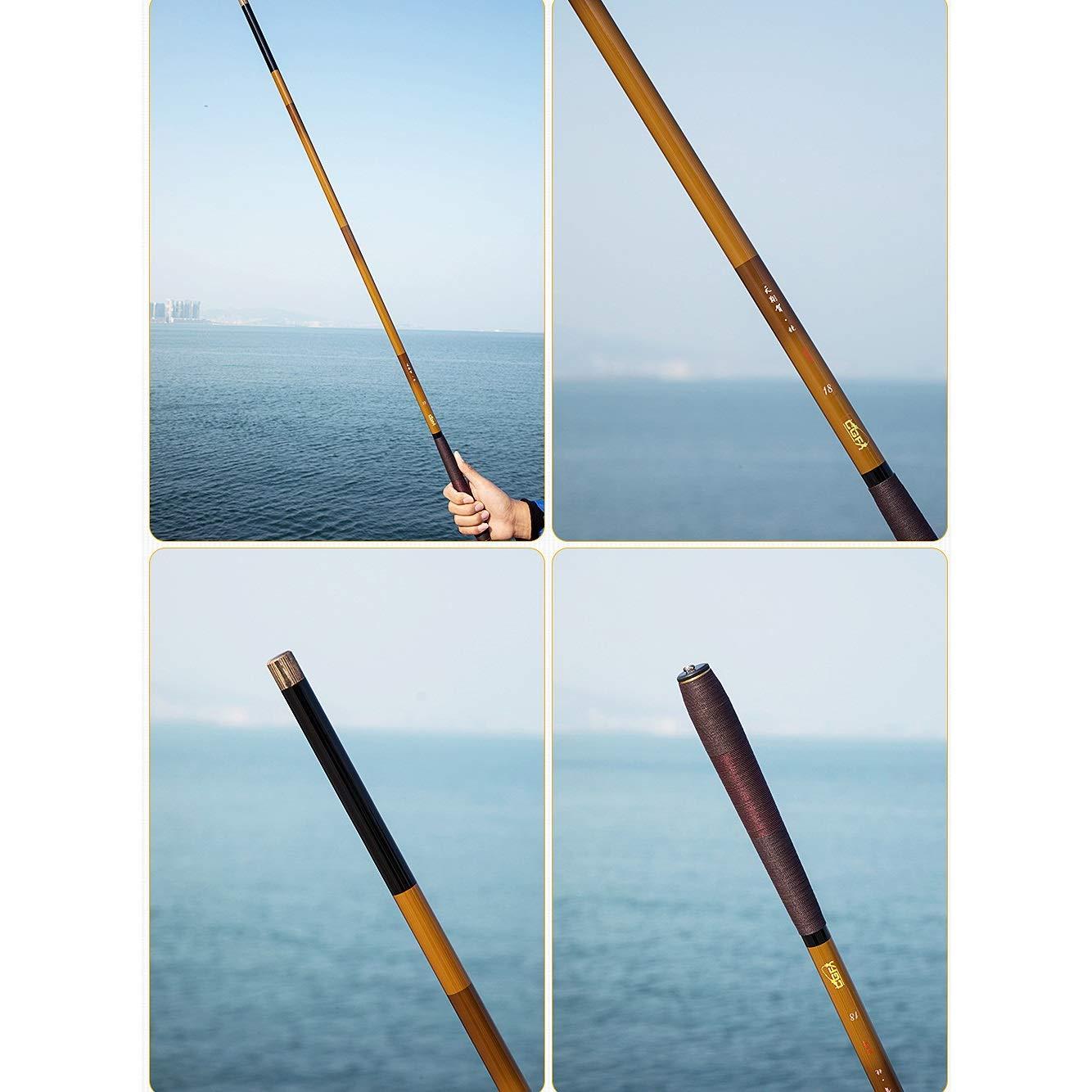 ZFF Telescópico Carbón Caña De Pescar 3.6/4.5M/5.4M Súper Duro ...