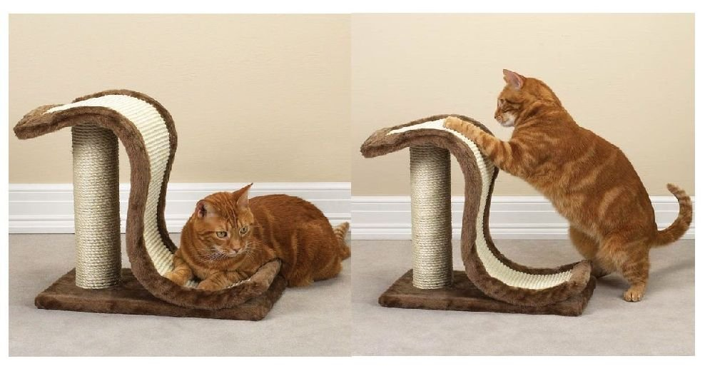 Cat Scratching Posts-Large Heavy Plush & Sisal Wave Slide Wood Board & Post
