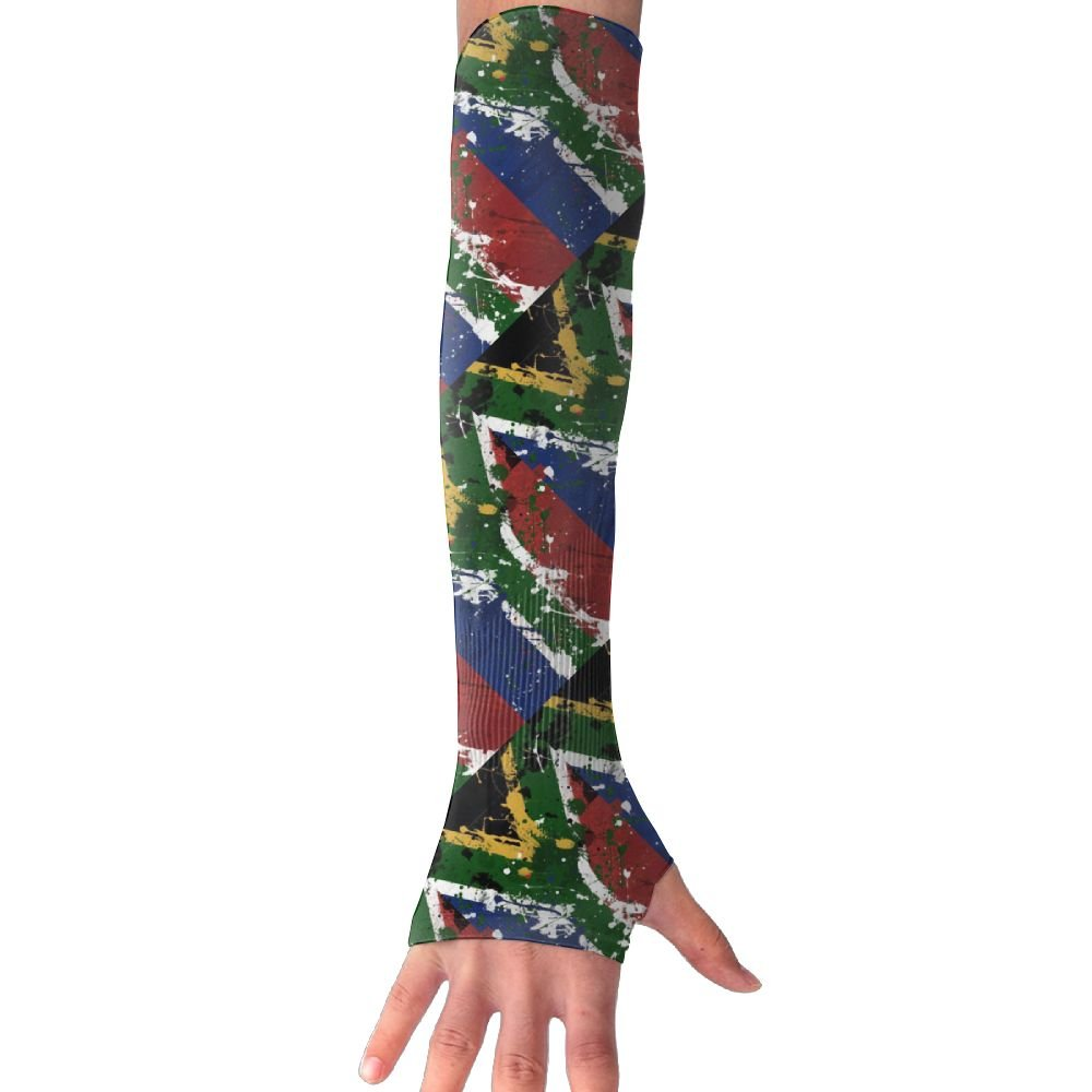 HBSUN FL Unisex Paint Daubs South African Flag Anti-UV Cuff Sunscreen Glove Outdoor Sport Riding Bicycles Half Refers Arm Sleeves