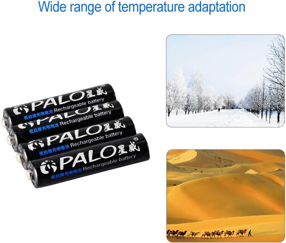 und NI-MH AA /& AAA Akku-Ladeger/ät mit USB-Kabel PALO AAA 300mAh wiederaufladbare Akkus 16er Pack