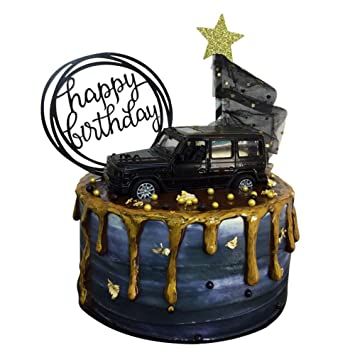 3 Pcs Birthday Cake Toppers Of Suv Black Car Cake Small