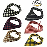 The Creativehome Dog Bandanas Pet Scarf Cute Plaid Triangle Scarf For Puppy Cat Kitten And Other Animals(6 pack)