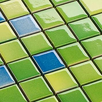 Keramik Mosaik Fliesen Grun Mix Glanzend 6 Mm Amazon De Baumarkt