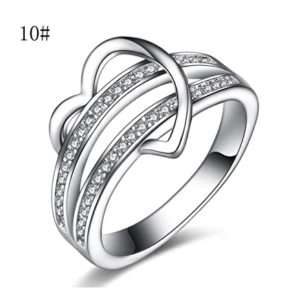 5755908b29 Hemlock Women Girls Luxury Lovers Rings Heart Love Wedding Crystal Rings  Diamond Valentine's Rings (Size