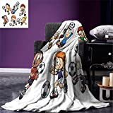 smallbeefly Soccer Throw Blanket Children Cartoon Drawing Style Kids Playing Football Happy Moments Active Lifestyle Warm Microfiber All Season Blanket for Bed or Couch Multicolor