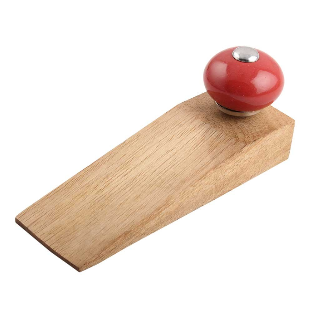 IndianShelf Handmade Red Round Wooden Ceramic Door Stoppers Premium Stop Wedge Work On All Floors Non Stretching Strong Grip