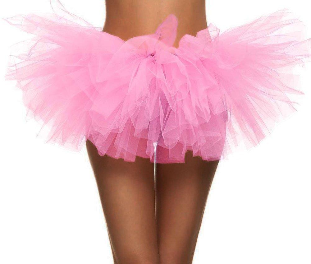 Women's Retro 5-Layered Ballet Warrior 5K, 10K Fun Dash Run Tutu Skirt, Light Pink