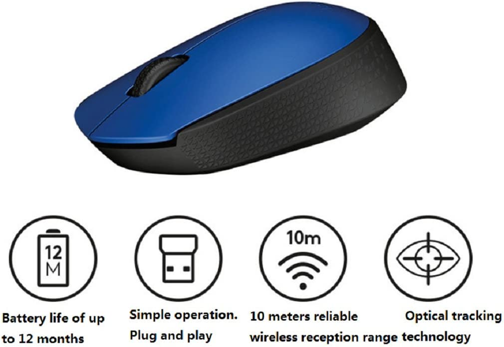 DULPLAY Wireless mouse,2.4G portable optical,Slim Less noise With usb nano receiver 3 buttons For notebook,Pc,Laptop Office Games 4x3x1inch A 9.7x6.5x3.5cm
