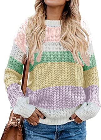 Cable Stitch Womens Oversized Colorblock Sweater