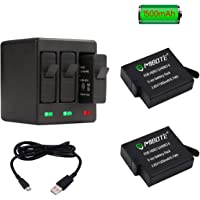 2 Pack Replacement Rechargeable Battery 1500mAh and 3-Channel Triple Charger for GoPro Hero 5 Black, Hero 6 Black, Hero 7 Black, Hero (2018) (Fully Compatible with Original Camera) by MIBOTE
