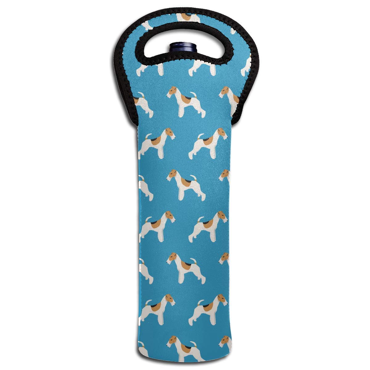 Wire Fox Terrier Dogs Cute Pattern Wine Bottle Tote Bag Carrier Bag with Handle