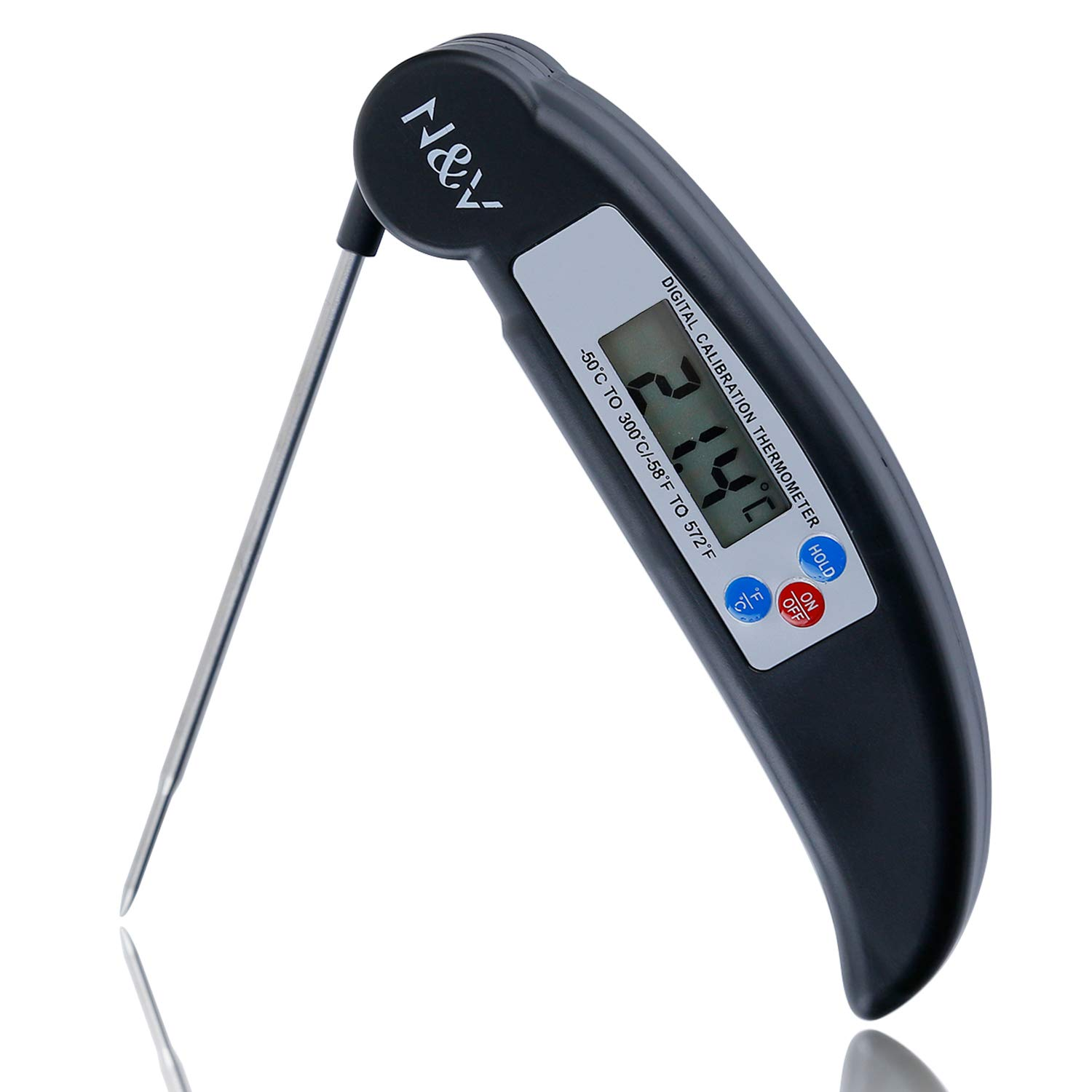 N/&V Meat Thermometer with LCD Display,Instant Read Digital Meat Thermometer for Kitchen,Outdoor,BBQ,Grill Smoker Thermometer,Food Thermomter TEPAC03 black)