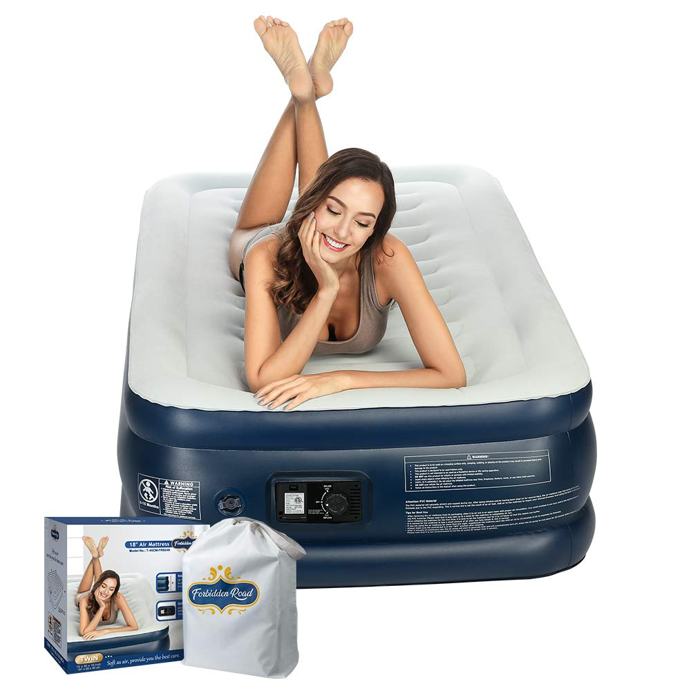 Forbidden Road Air Mattress,Twin and Queen Size Inflatable Double Airbed with Built-in Electric Pump Durable Firm Blow Up Raised Bed with Storage Bag Easy Setup (Twin, 75.2''38.98''18.11'')