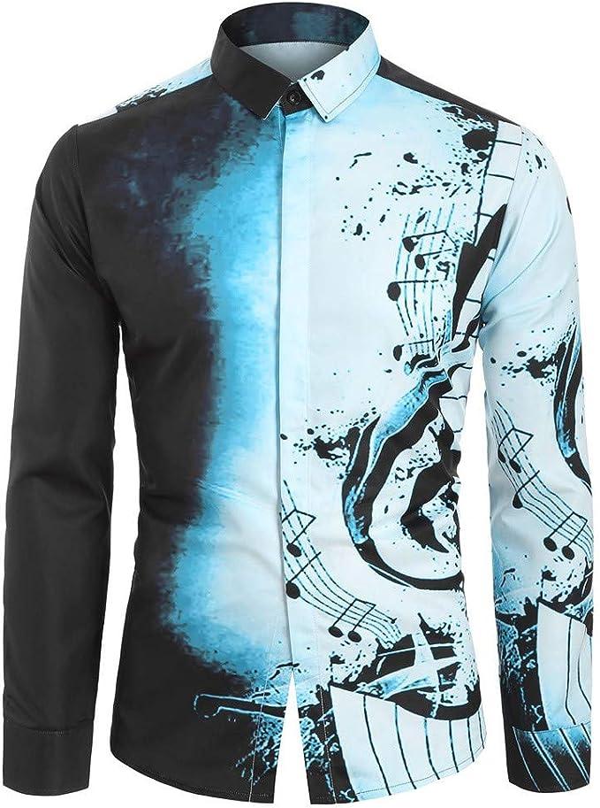 Yivise Camisa Casual para Hombre Patrón de Nota Musical Blusa de ...