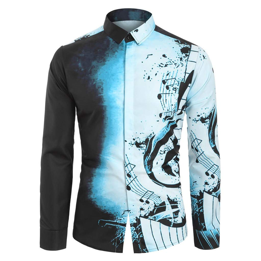 iZZZHH Mens Casual Musical Theme Print Shirt Long Sleeve Top Fashion Slim Fit Blouse