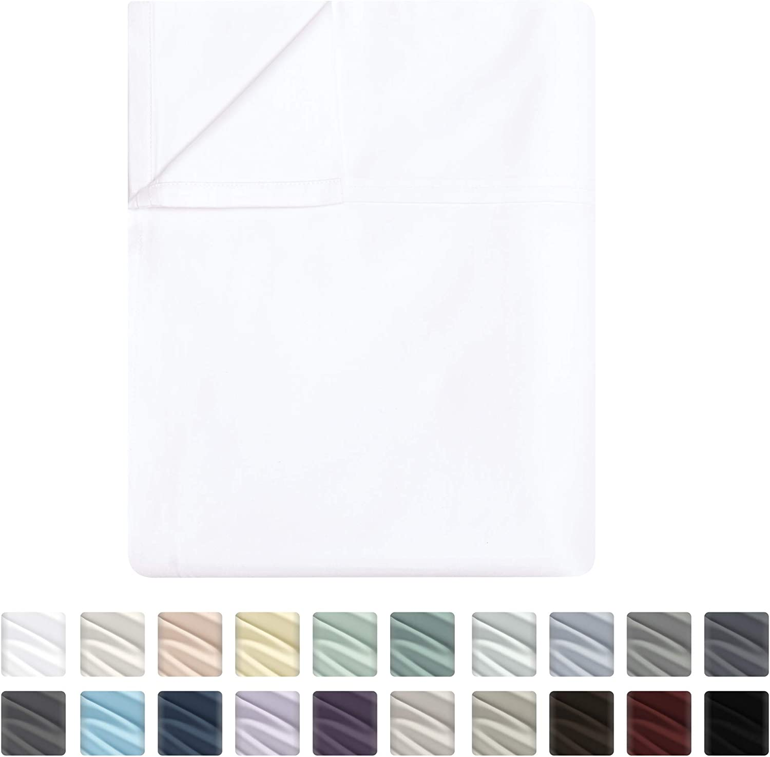 Flat Sheet Only - 400-Thread-Count King Size Pure White Top Sheet - Best Premium Quality Sheet on Amazon - Luxury Soft 100% Cotton Sateen Weave Bedding, Lightweight and Breathable