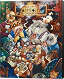 Poker Cats by Bill Bell Canvas Art Wall Picture, Museum Wrapped with Black Sides, 16 x 20 inches